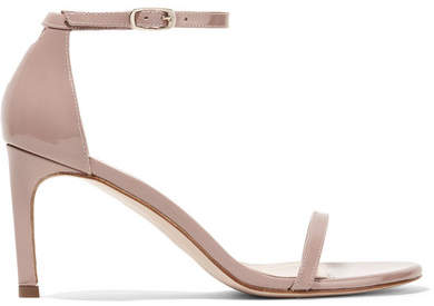 Stuart Weitzman - Nudist Patent-leather Sandals - Beige