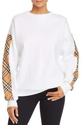 Burberry Bronx Plaid-Trimmed Sweatshirt