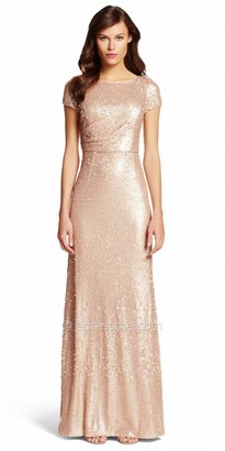 Adrianna Papell Short Sleeve Sequin Embellished Evening Dress $189 thestylecure.com