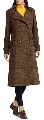Ralph Lauren Double-Breasted Button Front Gun Check Maxi Coat