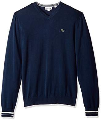 Lacoste Men's Long Sleeve Semi Fancy Jersey V-Neck Sweater