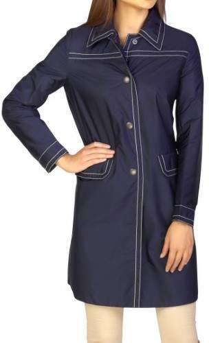 Prada Women's Nylon Trench Coat Navy Blue