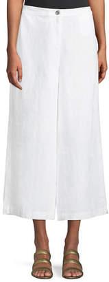 Eileen Fisher Wide-Leg Cropped Heavy Linen Pants, Petite
