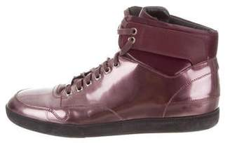 Christian Dior Patent Leather High-Top Sneakers