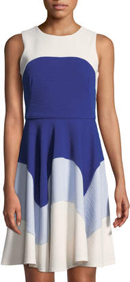 Taylor Colorblock Fit-and-Flare Dress