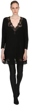 Ermanno Scervino Wool Sweater Dress W/ Lace Details