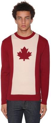 DSQUARED2 Wool Blend Jacquard Crewneck Sweater