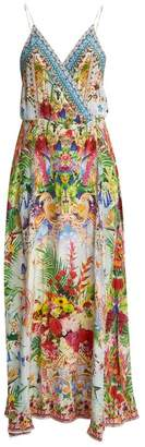 Camilla Miranda's Diary Silk Wrap Dress - Womens - Green Multi