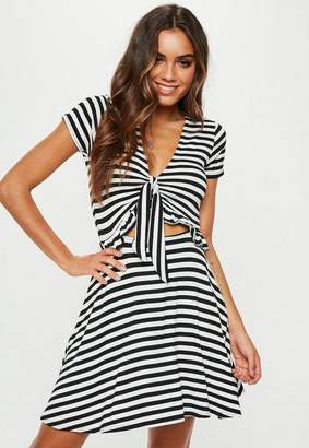 Missguided Black Striped Jersey Short Sleeve Tie Front Sundress