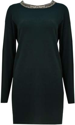 Wallis Forest Green Embellished Neck Tunic Jumper