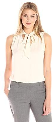 Lark & Ro Women's Sleeveless Tie Neck Top