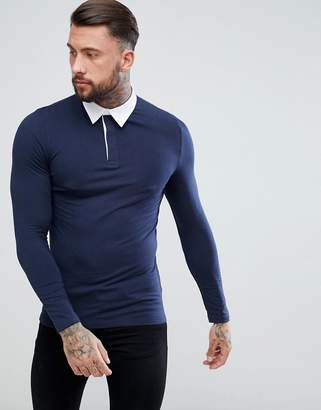 Asos DESIGN muscle rugby polo shirt with long sleeve in navy