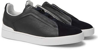 Ermenegildo Zegna Triple Stitch Full-Grain Leather And Suede Slip-On Sneakers