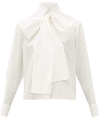 Fendi Cropped Cotton Oxford Pussybow Shirt - Womens - White