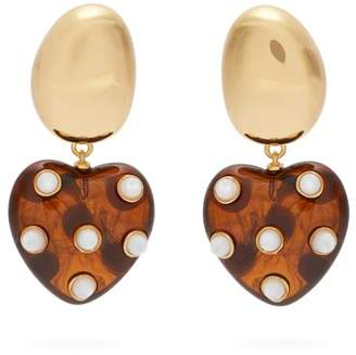Lizzie Fortunato Amore Polka Dot Heart Shaped Earrings - Womens - Gold