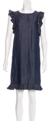 Iris & Ink Ruffled Chambray Dress w/ Tags