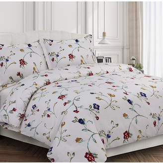 Tribeca Living Floral Garden Cotton Flannel Printed Oversized King Duvet Set Bedding
