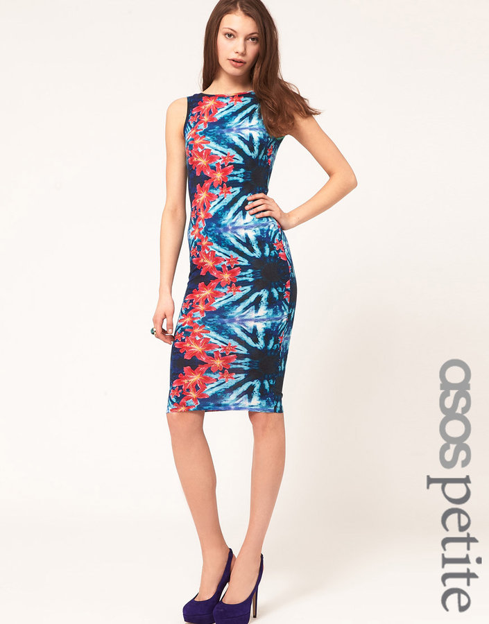 ASOS PETITE Body-Conscious Midi Dress In Tropical Floral Print