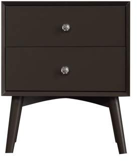 Emerald Home Home Decor II Charcoal Gray Nightstand with Telescoping Wood Legs And Chrome Hardware, 2-drawer