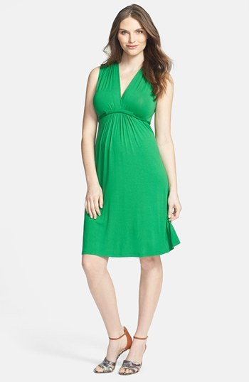 Olian Sleeveless V-Neck Maternity Dress