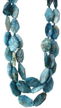 Teal Apatite Triple Strand Necklace