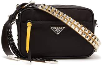 Prada Stud-embellished strap nylon cross-body bag