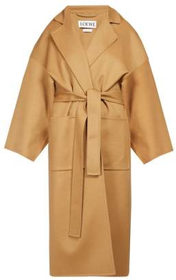 Loewe Piacenza Oversized Belted Wool Blend Coat - Womens - Camel