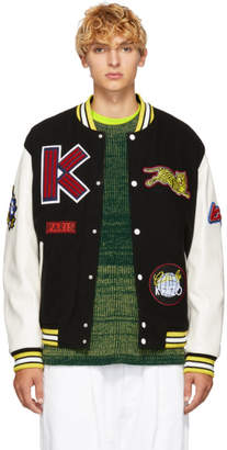 Kenzo Black Wool and Leather Varsity Jacket