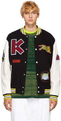 Kenzo Black Wool and Leather Varsity Jacket