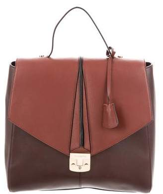 Trussardi Textured Leather Top Handle Bag