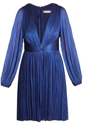 Maria Lucia Hohan Enora V Neck Pleated Tulle Dress - Womens - Blue