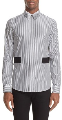 Men's Givenchy Band Applique Stripe Woven Shirt $495 thestylecure.com