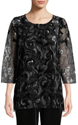 Caroline Rose Velvet Lace 3/4-Sleeve Tunic