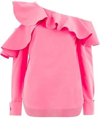 Oscar de la Renta one-shoulder ruffled blouse
