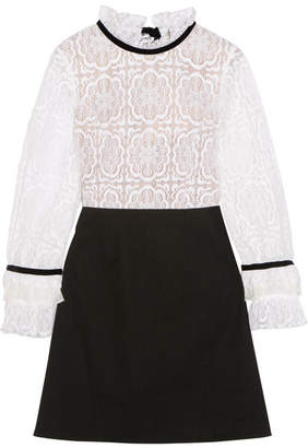 SEA - Velvet-trimmed Lace And Crepe Mini Dress - Black $435 thestylecure.com