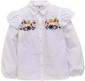Very Girls Embroidered Floral Ruffle Shirt