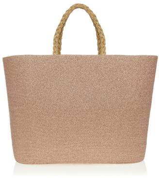 dae744c3a Lipsy Lurex Shimmer Straw Beach Bag - One Size - Gold