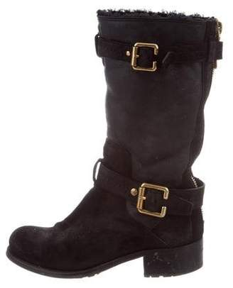 Christian Dior Nubuck Mid-Calf Boots