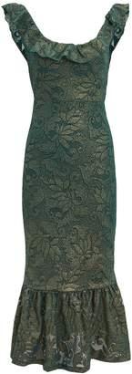 Nightcap Clothing Metallic Ruffle Hem Midi Dress
