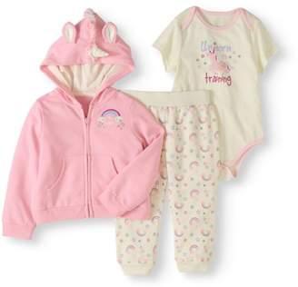 Quiltex Newborn Baby Girls' Critter Hoodie 3-Piece Outfit Set