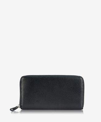GiGi New York Large Zip Around Wallet, Black Deerskin