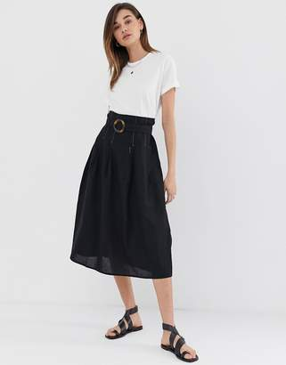 Asos Design DESIGN high waist midi skirt with tortoise shell buckle and contrast stitching