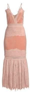 PatBO Lace& Velvet Plunging Dress