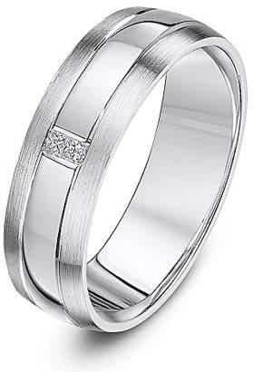 Theia Palladium 950 Court Shape 0.06ct Princess Cut Two Diamond Rub Over Set 6mm Wedding Ring - Size V