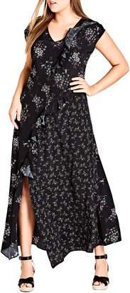 City Chic Asymmetric Paneled Maxi Dress