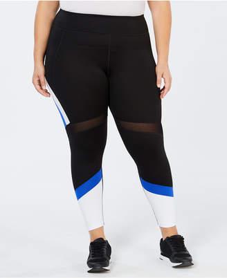 Calvin Klein Plus Size Colorblocked Mesh-Trimmed Ankle Leggings