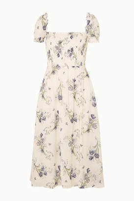 Reformation Inka Smocked Floral-print Crepe De Chine Midi Dress - White