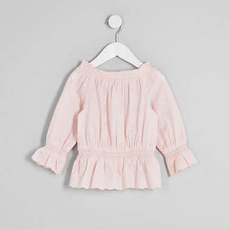 River Island Mini girls Pink broderie bardot top