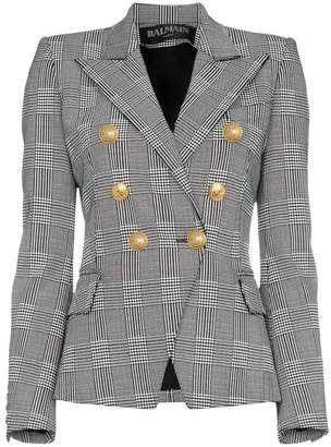 Balmain double breasted tweed cotton blend blazer