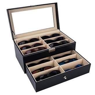 Autoark Leather 12 Piece Eyeglasses Storage and Sunglass Glasses Display Drawer Lockable Case Organizer